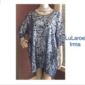 LuLaroe Irma Holiday Navy Shimmer Blouse Size 2XL